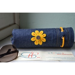 SPECTACLE CASE-JEANS-YELLOW DAISY